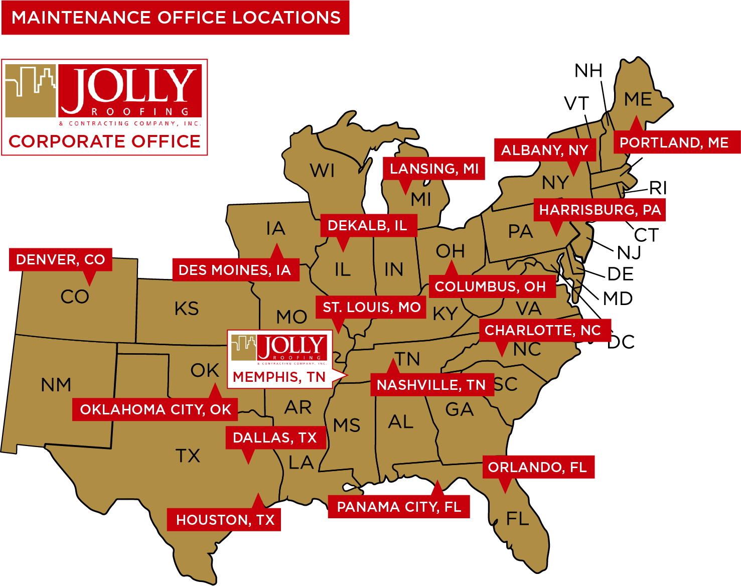 Jolly Roofing Service Area, 33 States