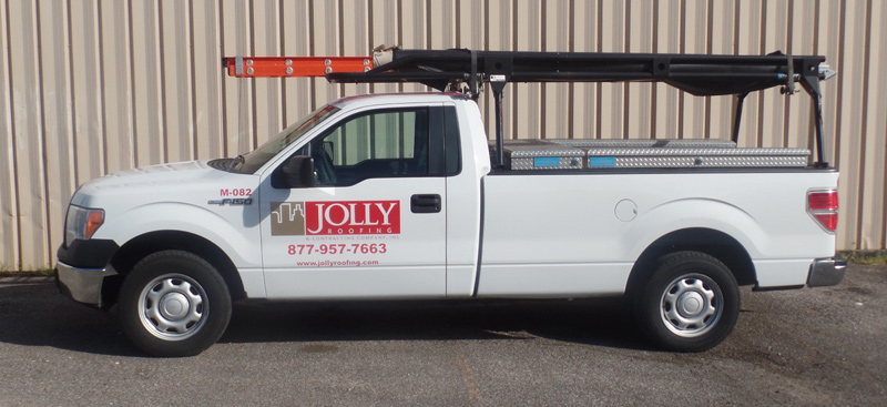 Jolly Roofing truck for commercial roofing projects